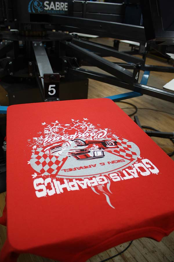shirt on press